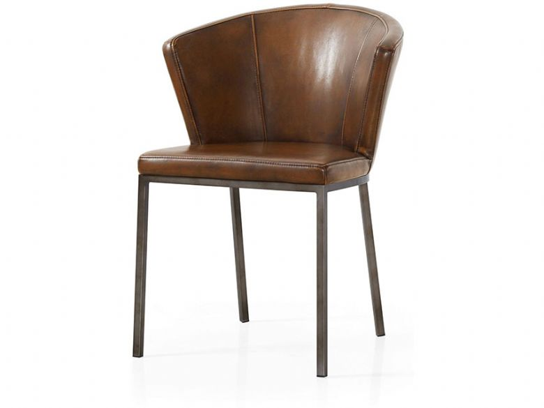 Industrial brown retro curve dining chair