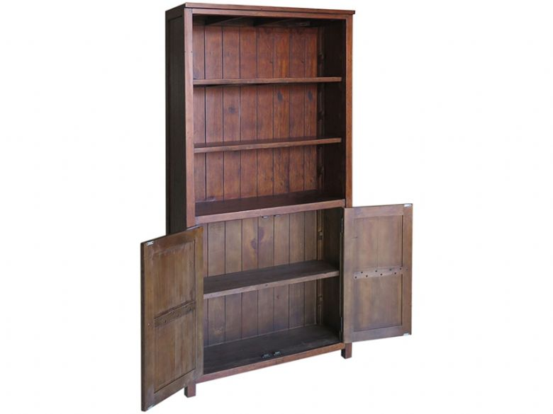 Claverton Bookcase With Cupboard Open