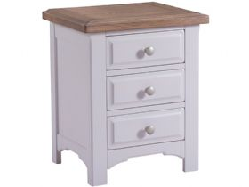 Light Grey 3 Drawer Bedside