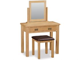 Salisbury oak dressing table, mirror and stool