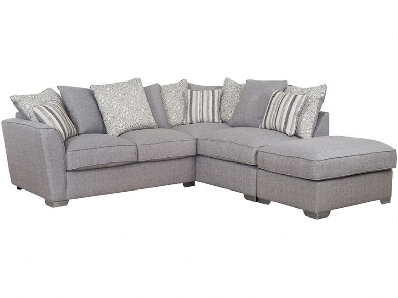 RHF Pillow Back Fabric Corner Sofa with Stool