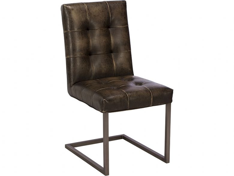 Cadoc brown leather dining chair