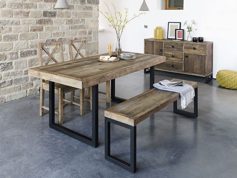 Halstein reclaimed rustic dining collection