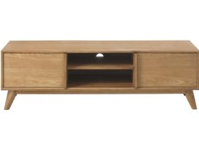 Oak TV Lowboard With 2 Doors