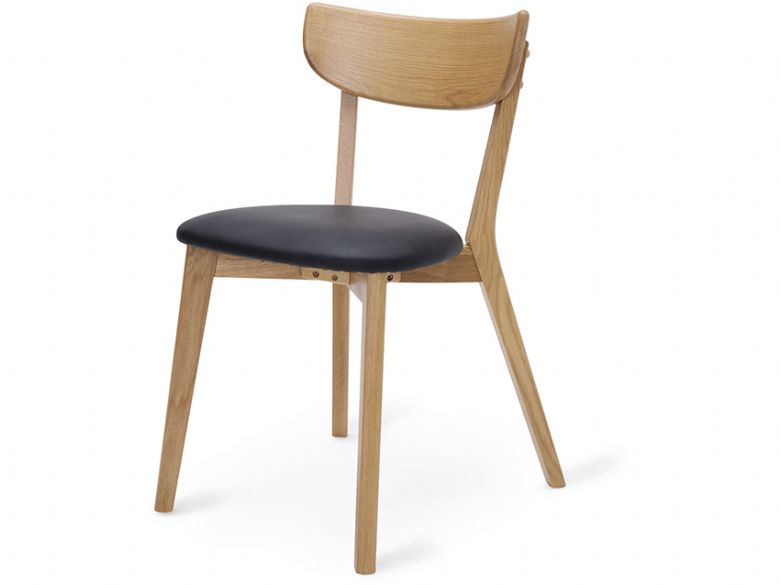 Oak Dining Chair With Black PU Seat