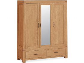 Oak Triple Wardrobe With Mirror