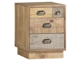 Reclaimed Pine Bedside Cabinet with Plinth