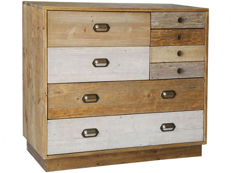 Venice Reclaimed Pine 7 Drawer Chest with Plinth