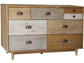Reclaimed Pine 6 Drawer Wide Chest