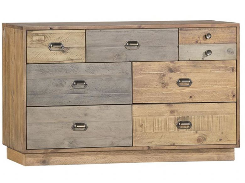Venice Reclaimed Pine 6 Drawer Wide Chest with Plinth