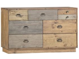 Reclaimed Pine 6 Drawer Wide Chest with Plinth