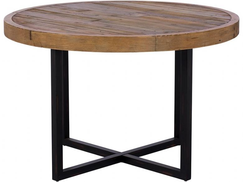 Halstein reclaimed round dining table industrial style