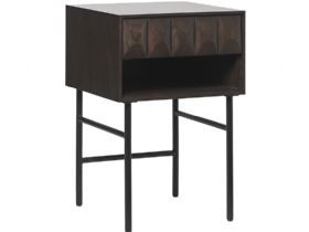 Anastasia industrial style side table with textured front