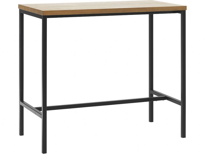 Rosta bar table wood with black metal base available at Furniture Barn