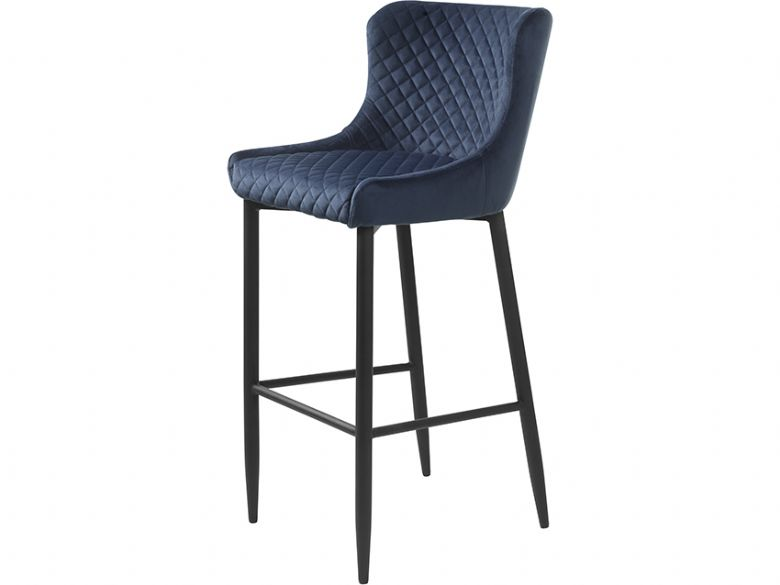 Houston blue quilted barstool