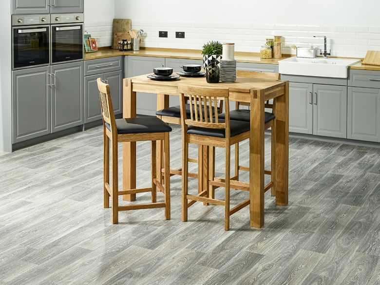 Durham oiled oak breakfast bar and stools