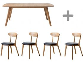 1.5m Oak Dining Table & 4 Oak Dining Chairs