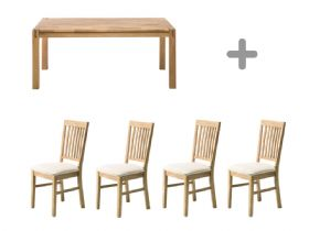 1.4m Oak Dining Table & 4 Oak Dining Chairs
