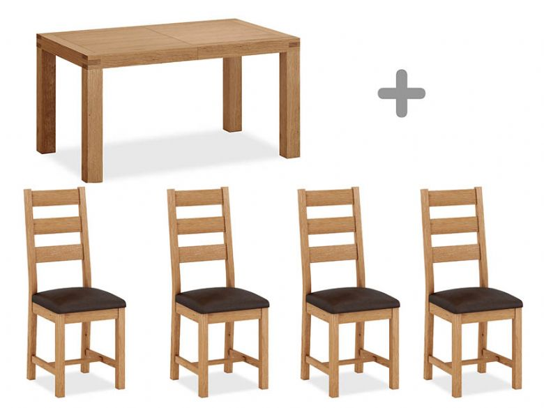 Oak 1.5m Extending Table + 4 Ladder Back Chairs